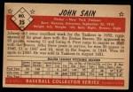 1953 Bowman B&W #25  Johnny Sain  Back Thumbnail