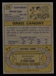 1974 Topps #275  Greg Landry  Back Thumbnail