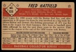 1953 Bowman #125  Fred Hatfield  Back Thumbnail