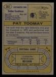 1974 Topps #361  Pat Toomay  Back Thumbnail