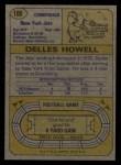 1974 Topps #100  Delles Howell  Back Thumbnail