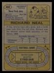 1974 Topps #468  Richard Neal  Back Thumbnail