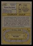 1974 Topps #433  Curley Culp  Back Thumbnail