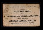 1922 E121-120 American Caramel  Johnny Mostil  Back Thumbnail