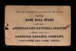 1922 E121-120 American Caramel  Fred Toney  Back Thumbnail