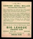1933 Goudey #59  Bing Miller  Back Thumbnail