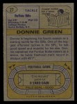 1974 Topps #27  Donnie Green  Back Thumbnail