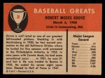 1961 Fleer #38  Lefty Grove  Back Thumbnail