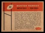 1960 Fleer #92  Buster Ramsey  Back Thumbnail