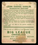1933 Goudey #168  Goose Goslin  Back Thumbnail