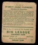 1933 Goudey #151  Jake Flowers  Back Thumbnail