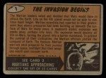 1962 Topps / Bubbles Inc Mars Attacks #1   The Invasion Begins  Back Thumbnail
