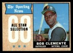 1968 Topps #374   -  Roberto Clemente All-Star Front Thumbnail
