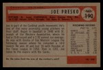 1954 Bowman #190  Joe Presko  Back Thumbnail