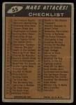 1962 Topps / Bubbles Inc Mars Attacks #55   Checklist  Back Thumbnail