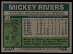 1977 Burger King #18  Mickey Rivers  Back Thumbnail