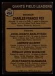 1973 Topps #252 ORG  -  Charlie Fox / Joe Amalfitano / Andy Gilbert / Don McMahon / John McNamara Giants Leaders Back Thumbnail