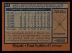 1978 Topps #638  Paul Splittorff  Back Thumbnail