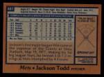 1978 Topps #481  Jackson Todd  Back Thumbnail