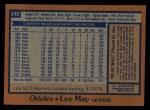 1978 Topps #640  Lee May  Back Thumbnail