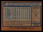 1978 Topps #298  Tony Armas  Back Thumbnail