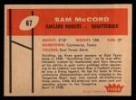1960 Fleer #67  Sam McCord  Back Thumbnail