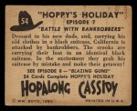 1950 Topps Hopalong Cassidy #54   Battle with bankrobbers Back Thumbnail