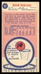 1969 Topps #62  Bob Weiss  Back Thumbnail