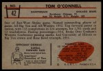 1953 Bowman #42  Tom O'Connell  Back Thumbnail