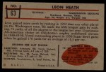 1953 Bowman #63  Leon Heath  Back Thumbnail