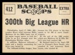 1961 Nu-Card Scoops #412   -  Eddie Mathews Blasts 300th Big League HR Back Thumbnail