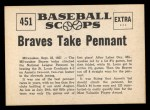1961 Nu-Card Scoops #451   Braves Take Pennant Back Thumbnail
