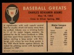 1961 Fleer #90  Babe Adams  Back Thumbnail