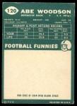 1960 Topps #120  Abe Woodson  Back Thumbnail