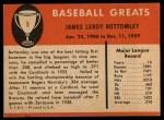 1961 Fleer #9  Jim Bottomley  Back Thumbnail