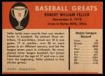 1961 Fleer #25  Bob Feller  Back Thumbnail