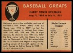 1961 Fleer #42  Harry Heilmann  Back Thumbnail