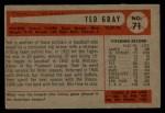 1954 Bowman #71  Ted Gray  Back Thumbnail