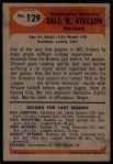 1955 Bowman #129  Dale Atkeson  Back Thumbnail