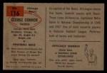 1954 Bowman #116  George Connor  Back Thumbnail