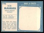 1961 Topps #196  Bob McNamara  Back Thumbnail