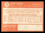 1964 Topps #294  Ken Hunt  Back Thumbnail