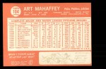 1964 Topps #104  Art Mahaffey  Back Thumbnail