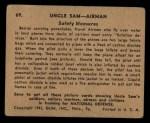 1941 Gum Inc Uncle Sam #69   Safety Measures Back Thumbnail
