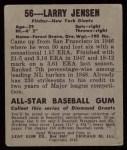 1948 Leaf #56  Larry Jensen  Back Thumbnail