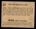 1939 Gum Inc. War News Pictures #52   Guns of The Maginot Line In Action Back Thumbnail