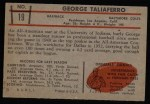 1953 Bowman #19  George Taliaferro  Back Thumbnail