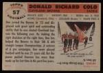 1956 Topps #57  Don Colo  Back Thumbnail