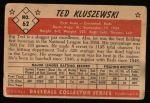 1953 Bowman #62  Ted Kluszewski  Back Thumbnail