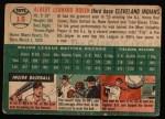 1954 Topps #15 WHT Al Rosen  Back Thumbnail